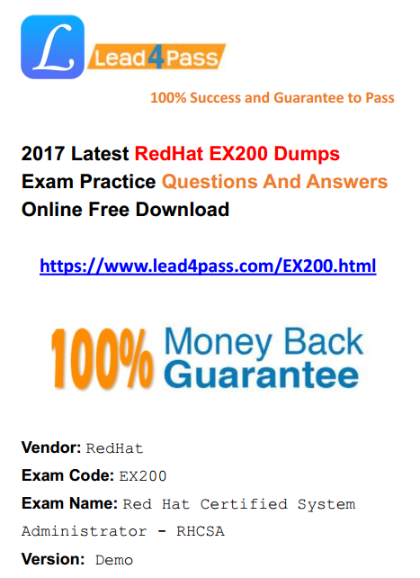 2018 New Version Latest Redhat Rhcsa Ex200 Dumps Exam Practice Files And Youtube Free Demo